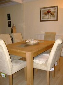 For Sale: Solid wood extendable table and 6 chairs