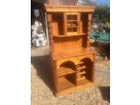 Solid chunky pine Welsh Dresser. Wine Rack. Display Cabinet