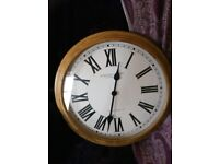 Large 50cm wall clock. Solid wood. Was £49.99