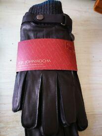 Men's Black Touchscreen Leather Gloves