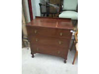 Vintage Chest of Drawers , with queen anne feet , 3 drawers .( 2 availabble )