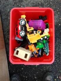 Toys and red box