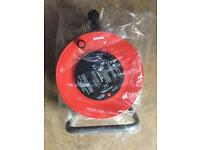 Brand new 25m 4way extension reel with thermal cut out