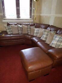 Lounge leather corner suite plus stool
