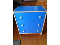 IKEA chest of drawers (blue).