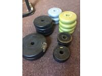 Weight plates - roughly 27kg assorted metal and plastic