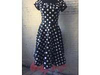 Adults 1950's dress with red underskirt