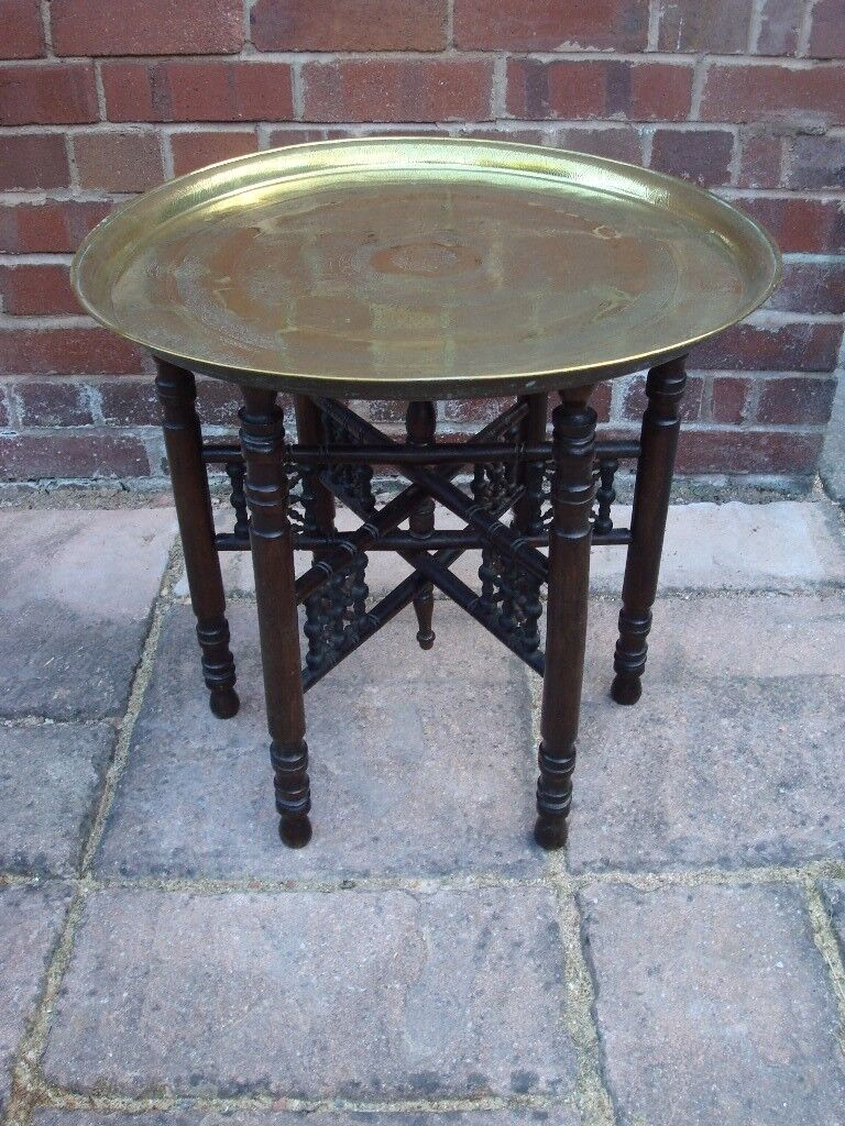 Antique Egyptian Etched Brass Round Tray Table In Exeter Devon Gumtree