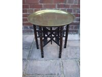 Antique Egyptian Etched Brass Round Tray Table