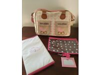 PINK LINING changing bag in Pink Butterflies