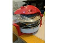 Cookshop 12L Halogen Oven with Hinged Lid, 5L Extender Ring & Accessories, Red
