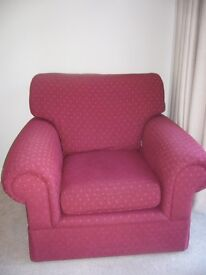 Marks and Spncer 3 piece suite, dark red - excellent condition