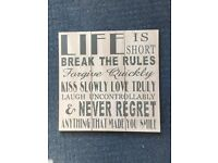 picture / wall hanging quote shabby chic style