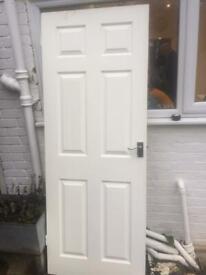 White internal door with handles (198cm x 75cm)