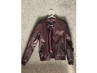 Men's small maroon leather jacket