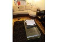 Urgent sale - luxury sofa, glass table and centre table, standing a/c unit, center capet, lights