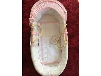 Pink Moses basket. Very good condition