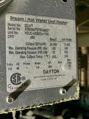 Dayton 3duf7 Hydronic Unit Heater18 H450 Cfm
