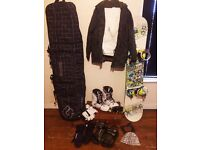 Burton Snowboard with ALL accessories incl: bag, bindings, boots, mask, gloves, snow jacket&pants