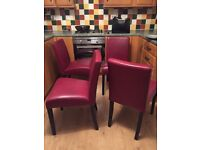 4 RED LEATHER DINING CHAIRS BOUGHT FROM MARKS & SPENCER...BEAUTIFUL SOFT LEATHER..EXCELLENT.