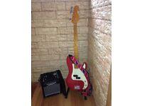 Red Bass Guitar + Accessories