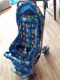Sparingly used pram, beautiful blue color animals print, reversible handle, 3 way recline