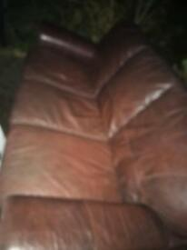 3 seater + 2 seater matching brown real leather sofas