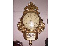 Swedish hand carved gilt-wood Rococo style, cartel clock