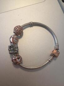 Genuine PANDORA bracelet with 4 charms (2 charms limited edition)