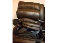 2 x 2 brown leather recliner sofas