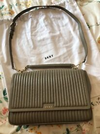 DKNY Quilted Large Flap Shoulder Bag in Clay.