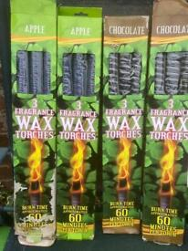 4 boxes of 3 fragrance wax torches all the lot £10