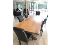 Large solid wood Dining Table seats 8-12 (& free chairs)