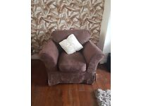 DFS large brown jacard two seater sofa with arm chair with additional ivory cover set Croydon