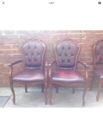 Chesterfield Louis style oxblood carver Chairs