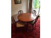 Dining table and chairs. Solid wood. Extendable