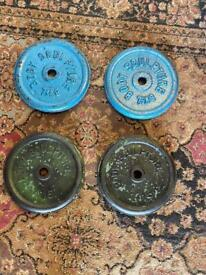 29 kg total nice and clean set metal iron weights look pic all clean and all 1 inch size bar