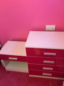 Pink chest of drawers and bedside unit