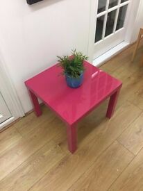 Hot pink Ikea coffee table gloss finish