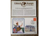 TWO POUND COIN. 300TH ANNIVERSARY OF THE BANK OF ENGLAND. 1ST DAY COIN & STAMP COVER