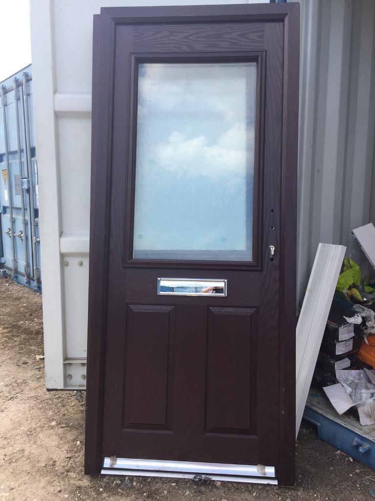 New Rosewood Composite Front Door Obscure Glass 920 X 2070 Ref D29