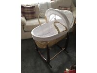 Moses basket barely used with stand and mattress