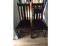 Six oak antique dining chairs