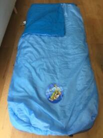 Blow up bed with built in sleeping bag - cover is removable for washing