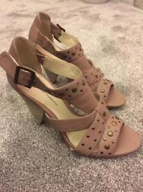 Blush pink stud detail size 7 heels