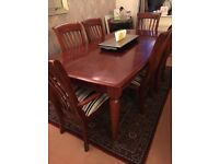 Extendable dinning table with 6 Chairs and Matching Sideboard