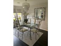 Silver Grey Wrought Iron Dining Table and 6 Chairs