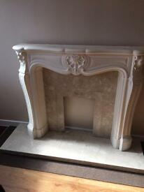 Marble fireplace hearth and surround
