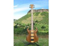 Handmade Bass Guitar. Zebrano Top, Maple & Sycamore Neck, Bartolini Pickups. New