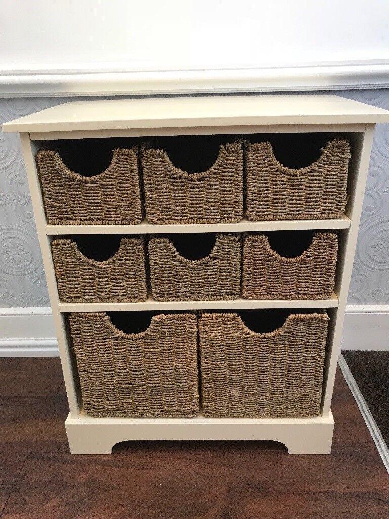 Wooden Storage Unit Drawers With Wicker Baskets Hallway Toy Box